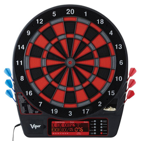 Image of Viper Specter Electronic Dartboard, Metropolitan Cinnamon Cabinet, Laser Throw Line & Shadow Buster Dartboard Light Bundle Darts Viper