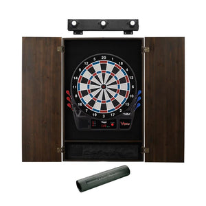 Viper Vtooth 1000 Electronic Dartboard, Metropolitan Espresso Cabinet, Dart Mat & Shadow Buster Dartboard Light Bundle