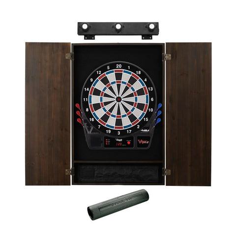 Image of Viper Vtooth 1000 Electronic Dartboard, Metropolitan Espresso Cabinet, Dart Mat & Shadow Buster Dartboard Light Bundle