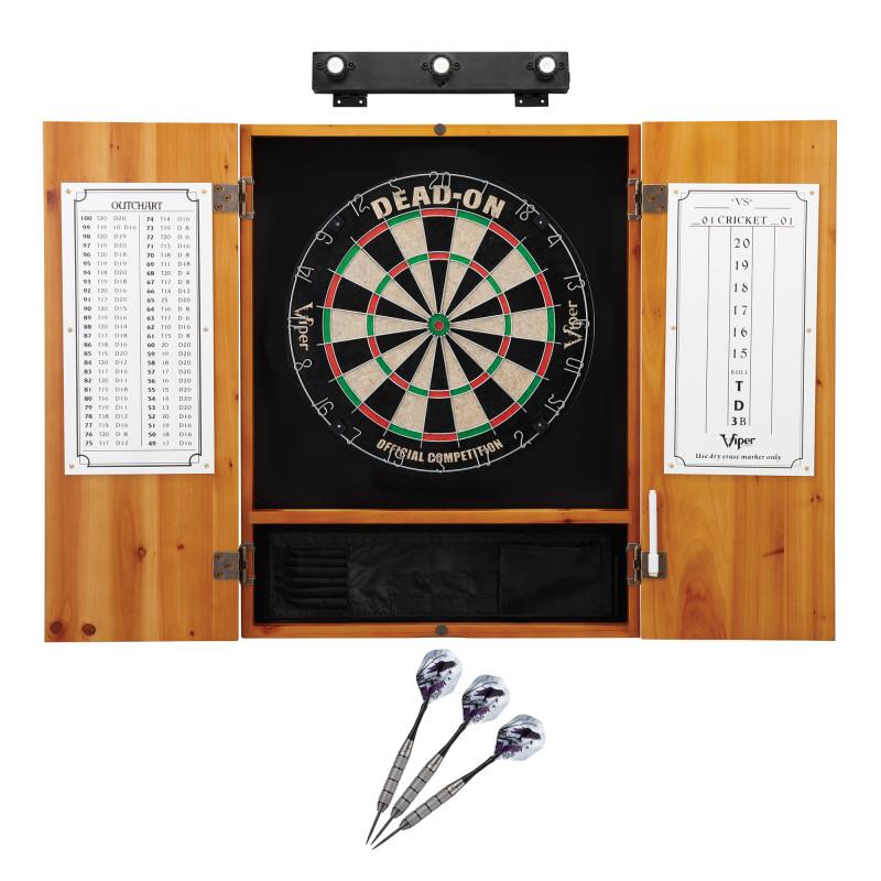 Viper Dead On Sisal Dartboard, Metropolitan Oak Cabinet, Underground The Raven Steel Tip Darts & Shadow Buster Dartboard Lights Darts Viper