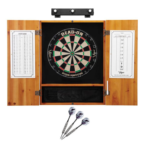 Image of Viper Dead On Sisal Dartboard, Metropolitan Oak Cabinet, Underground The Raven Steel Tip Darts & Shadow Buster Dartboard Lights