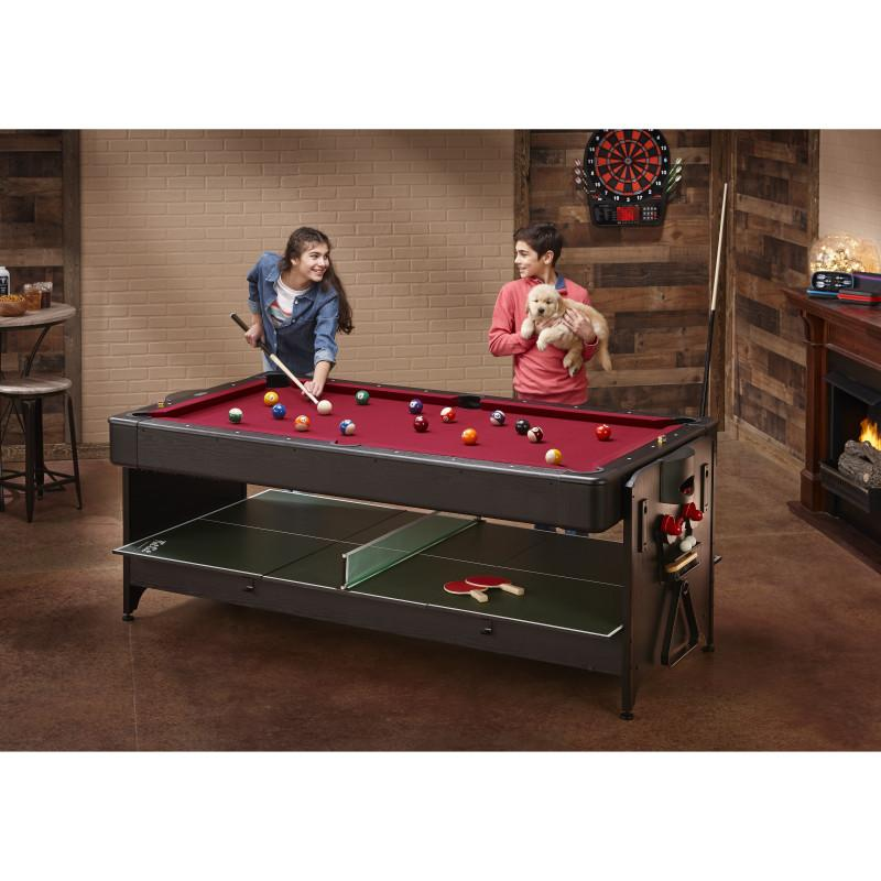 Fat Cat Original 3-in-1 Burgundy 7' Pockey™ Multi-Game Table Multi-Tables Fat Cat
