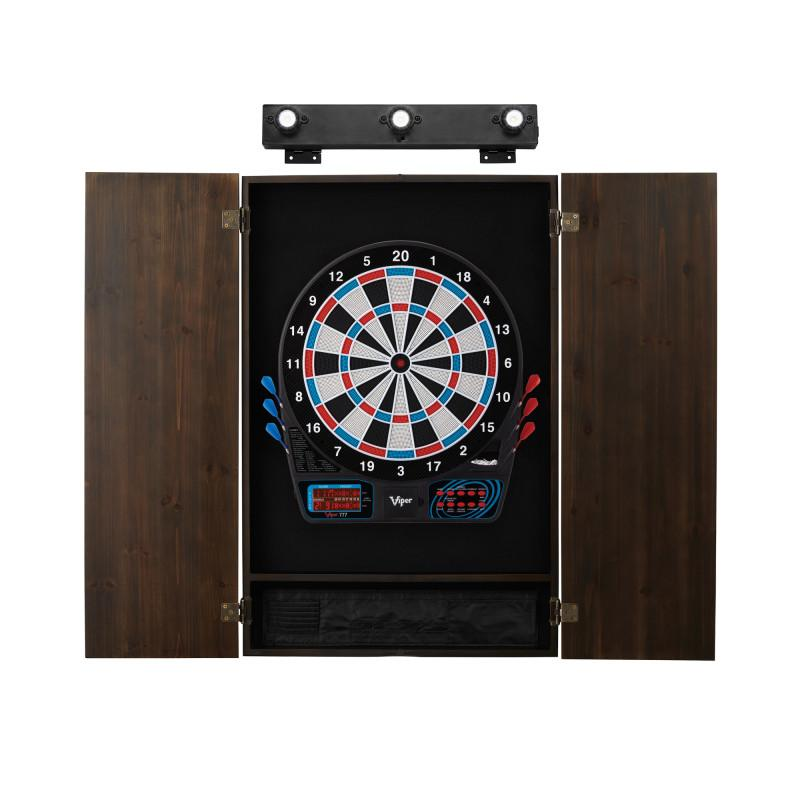 Viper 777 Electronic Dartboard, Metropolitan Espresso Cabinet & Shadow Buster Dartboard Light Bundle