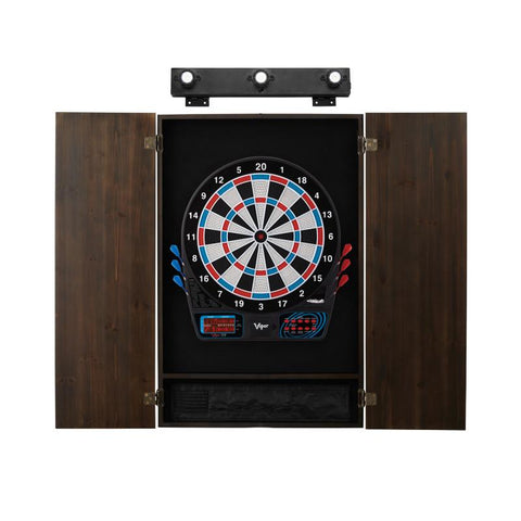 Image of Viper 777 Electronic Dartboard, Metropolitan Espresso Cabinet & Shadow Buster Dartboard Light Bundle