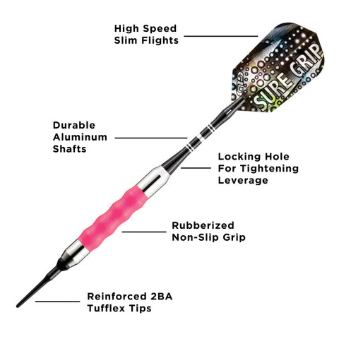 Image of Viper Sure Grip Soft Tip Darts Pink 16 Grams