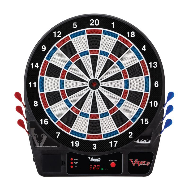Viper Vtooth 1000 Electronic Dartboard, Metropolitan Espresso Cabinet, Dart Mat & Shadow Buster Dartboard Light Bundle Darts Viper