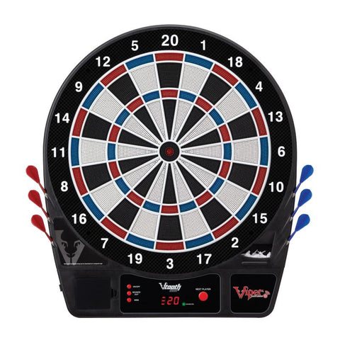 Image of Viper Vtooth 1000 Electronic Dartboard, Metropolitan Espresso Cabinet, Dart Mat & Shadow Buster Dartboard Light Bundle Darts Viper