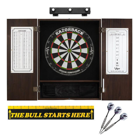 "Image of Viper Razorback Sisal Dartboard, Metropolitan Espresso Cabinet, Shadow Buster Dartboard Lights & ""The Bull Starts Here"" Throw Line Marker"