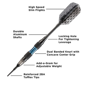 Viper Bobcat Darts Adjustable Soft Tip Darts Blue Rings 16-18 Grams