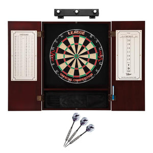 Viper League Sisal Dartboard, Metropolitan Mahogany Cabinet, Underground The Raven Steel Tip Darts & Shadow Buster Dartboard Lights Darts Viper