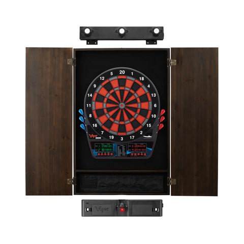 Viper Orion Electronic Dartboard, Metropolitan Espresso Cabinet, Laser Throw Line & Shadow Buster Dartboard Light Bundle