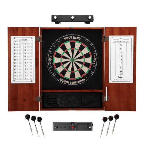 Viper Shot King Sisal Dartboard, Metropolitan Cinnamon Cabinet, Shadow Buster Dartboard Lights & Laser Throw Line Marker Darts Viper