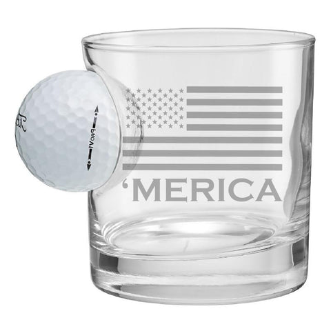 BenShot 'Merica Rocks Glass with Golf Ball - 11oz Glassware BenShot