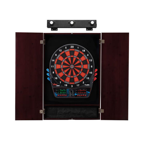 Image of Viper Orion Electronic Dartboard, Metropolitan Mahogany Cabinet & Shadow Buster Dartboard Light Bundle