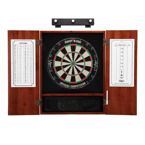 Image of Viper Shot King Sisal Dartboard, Metropolitan Cinnamon Cabinet & Shadow Buster Dartboard Lights Darts Viper