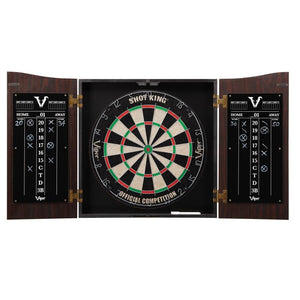 Viper Vault Cabinet with Shot King Sisal Dartboard, Steel Tip Dart Accessories Kit &