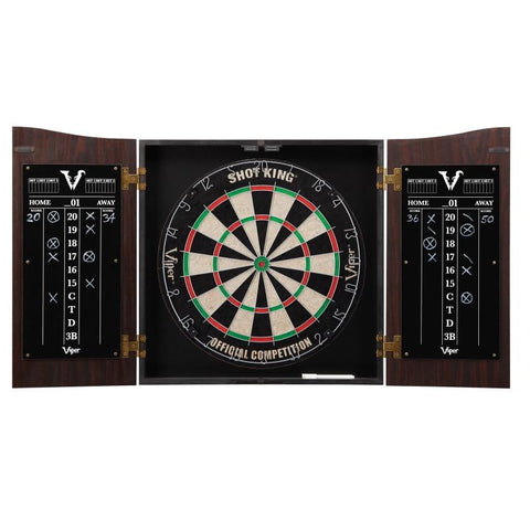 Viper Vault Cabinet with Shot King Sisal Dartboard & Shadow Buster Dartboard Lights Darts Viper
