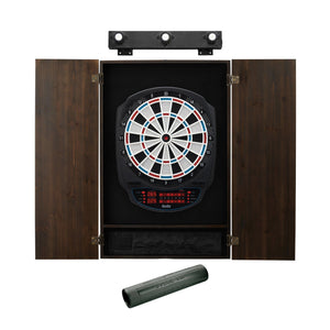 Viper Rigel Electronic Dartboard, Metropolitan Espresso Cabinet, Dart Mat & Shadow Buster Dartboard Light Bundle