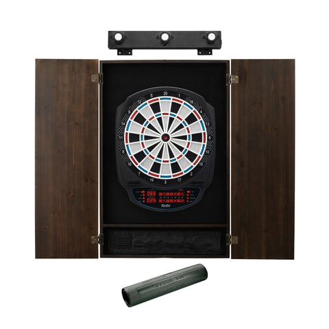 Image of Viper Rigel Electronic Dartboard, Metropolitan Espresso Cabinet, Dart Mat & Shadow Buster Dartboard Light Bundle