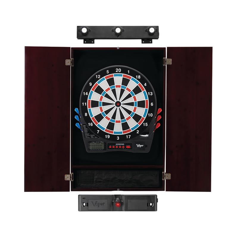 Viper Showdown Electronic Dartboard, Metropolitan Mahogany Cabinet, Laser Throw Line Marker & Shadow Buster Dartboard Lights Darts Viper