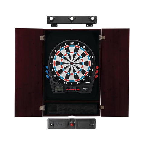 Image of Viper Showdown Electronic Dartboard, Metropolitan Mahogany Cabinet, Laser Throw Line Marker & Shadow Buster Dartboard Lights