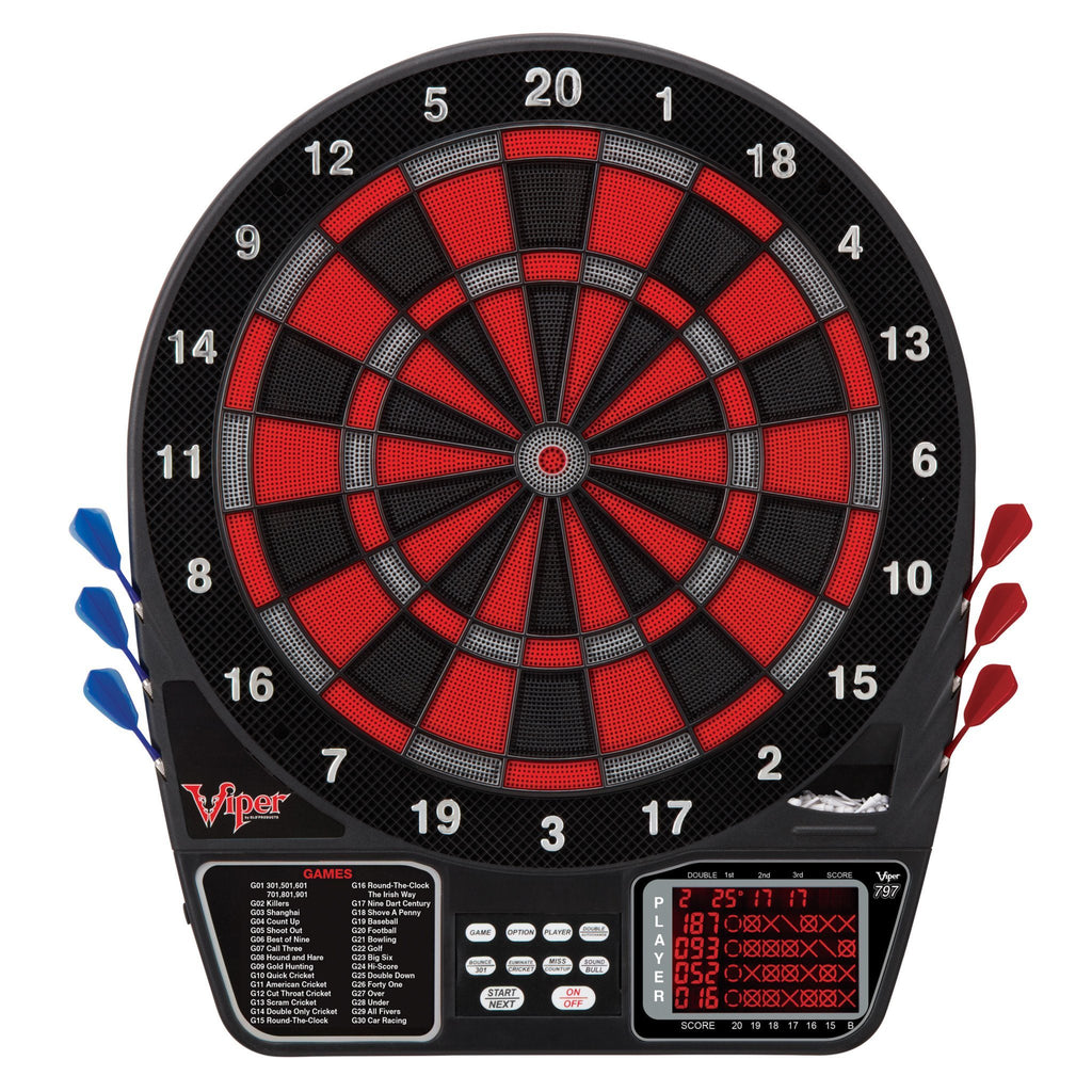 Viper 797 Electronic Dartboard, Warrior Soft Tip Darts & Poly Royal 6ct Slim Flights Darts Viper