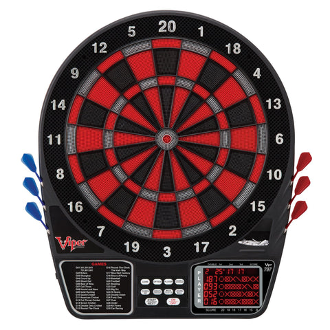 Image of Viper 797 Electronic Dartboard, Warrior Soft Tip Darts & Poly Royal 6ct Slim Flights