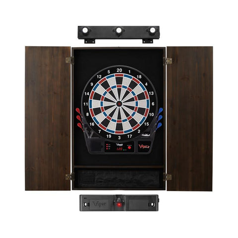 Image of Viper Vtooth 1000 Electronic Dartboard, Metropolitan Espresso Cabinet, Laser Throw Line & Shadow Buster Dartboard Light Bundle
