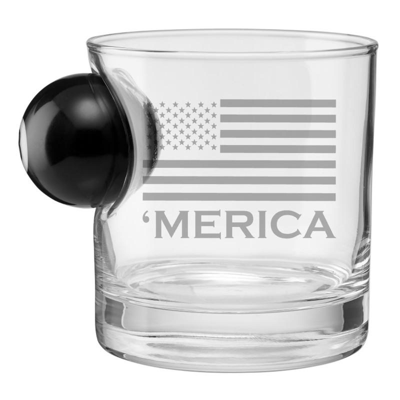 BenShot 'Merica Rocks Glass with 8 Ball - 11oz Glassware BenShot