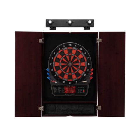 Image of Viper 800 Electronic Dartboard, Metropolitan Mahogany Cabinet & Shadow Buster Dartboard Light Bundle
