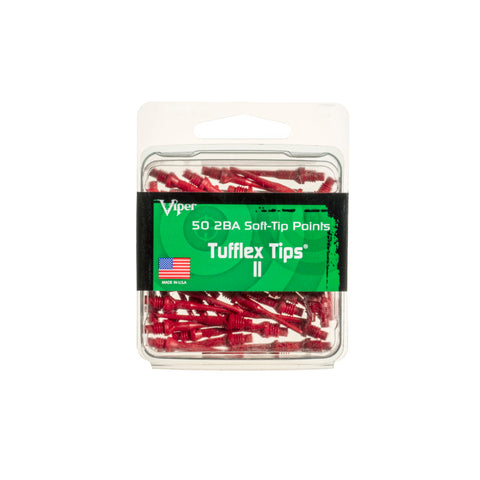 Viper Tufflex Tips II 2BA Red 50Ct Soft Dart Tips
