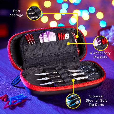 Casemaster Sentry Dart Case with Red Zipper Dart Cases Casemaster