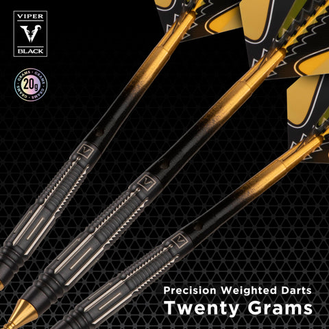 Image of Viper Black Flux 90% Tungsten Steel or Soft Tip Conversion Darts Gold 20 Grams