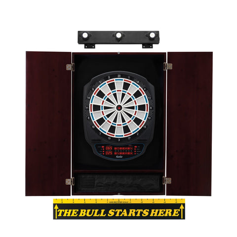 "Viper Rigel Electronic Dartboard, Metropolitan Mahogany Cabinet, ""The Bull Starts Here"" Throw Line Marker & Shadow Buster Dartboard Lights"