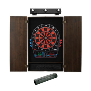 Viper Orion Electronic Dartboard, Metropolitan Espresso Cabinet, Dart Mat & Shadow Buster Dartboard Light Bundle