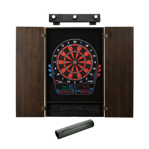 Image of Viper Orion Electronic Dartboard, Metropolitan Espresso Cabinet, Dart Mat & Shadow Buster Dartboard Light Bundle