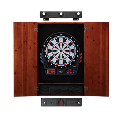 Image of Viper 777 Electronic Dartboard, Metropolitan Cinnamon Cabinet, Laser Throw Line & Shadow Buster Dartboard Light Bundle