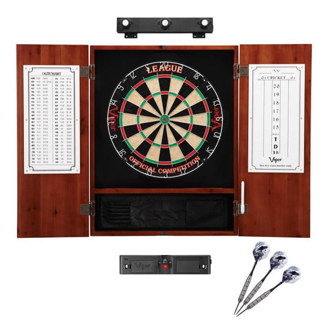 Image of Viper League Sisal Dartboard, Metropolitan Cinnamon Cabinet, Shadow Buster Dartboard Lights & Laser Throw Line Marker Darts Viper