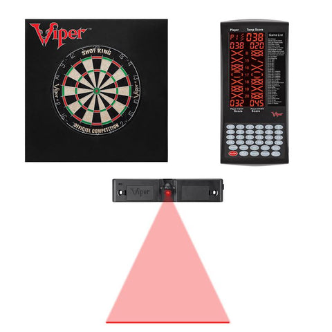 Viper Shot King Bristle Dartboard, ProScore, Dart Laser Line, and Wall Defender II Darts Viper