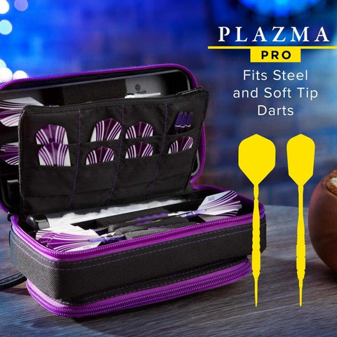 Casemaster Plazma Pro Dart Case Black with Amethyst Zipper and Phone Pocket
