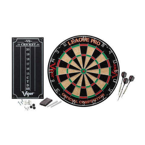 Viper League Pro Sisal Dartboard Starter Kit, Dart Laser Line, and Wall Defender II Darts Viper