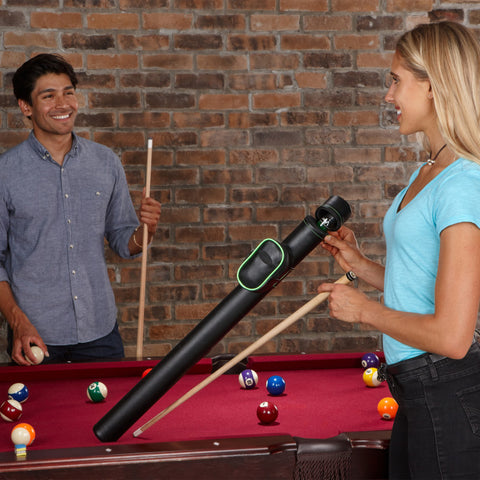 Image of Casemaster Q-Vault Supreme Black with Green Trim Cue Case Billiard Cue Case Casemaster