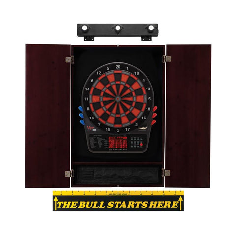 Viper 800 Electronic Dartboard, Metropolitan Mahogany Cabinet, Throw Line Marker & Shadow Buster Dartboard Light Bundle