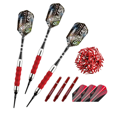 Viper Sure Grip Soft Tip Darts 18 Grams, Red Accessory Set
