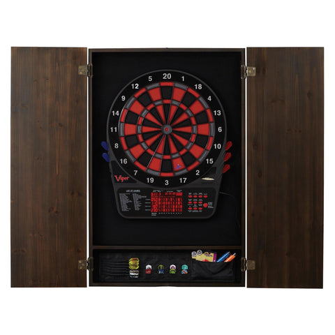 Viper Rigel Electronic Dartboard, Metropolitan Espresso Cabinet, Laser Throw Line & Shadow Buster Dartboard Light Bundle