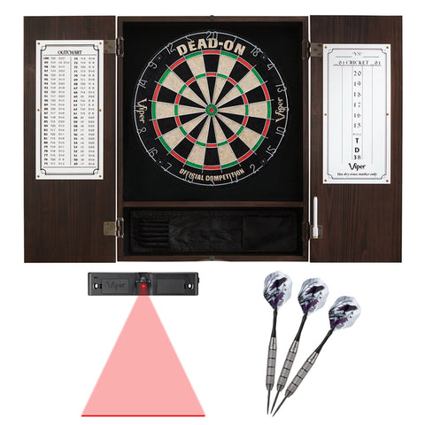 Image of Viper Rigel Electronic Dartboard, Metropolitan Mahogany Cabinet & Shadow Buster Dartboard Lights