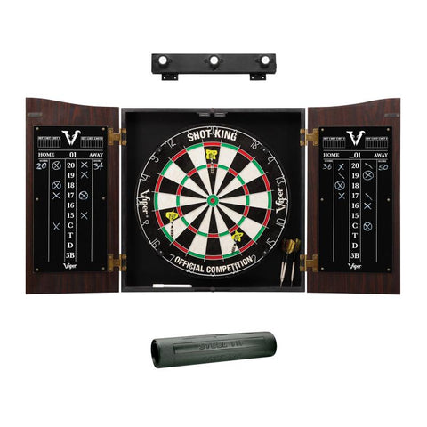 Viper Vault Cabinet with Shot King Sisal Dartboard, Padded Dart Mat & Shadow Buster Dartboard Lights