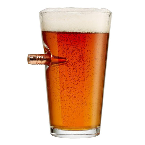 BenShot Pint Beer Glass with Bullet - 16oz Glassware BenShot