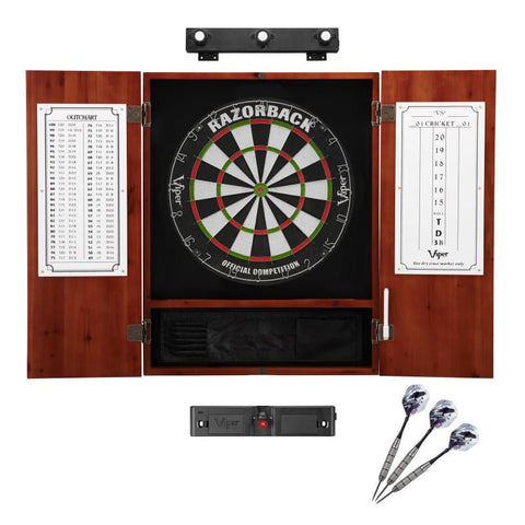 Image of Viper Razorback Sisal Dartboard, Metropolitan Cinnamon Cabinet, Shadow Buster Dartboard Lights & Laser Throw Line Marker