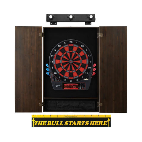 Viper Specter Electronic Dartboard, Metropolitan Espresso Cabinet, Throw Line Marker & Shadow Buster Dartboard Light Bundle